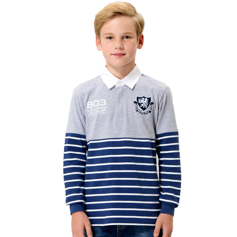 LEO&LILY boys Kids Yarns Dyed Stripe Jersey Polo Shirts Poplin Collar LLB3708