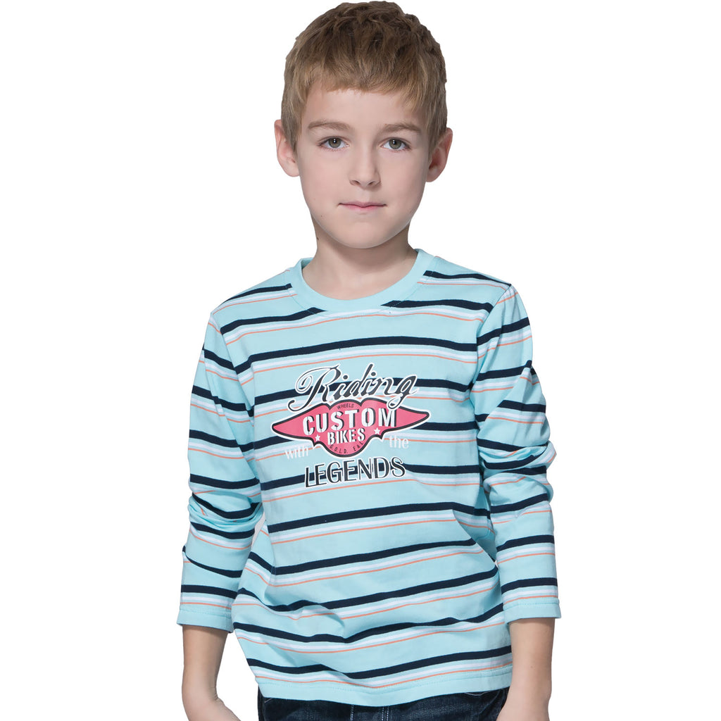 LEO&LILY Boys Long Sleeve Crew-Neck Pullover Print Fancy T-Shirt LLB3408