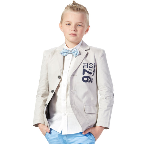 LEO&LILY Boys Kids Print Causal Blazers Jackets Coat With Lining LLB1127
