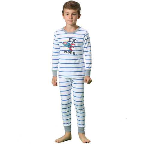 LEO&LILY Big Boys Cotton Stripe Printed Pajamas Sets LLBP006