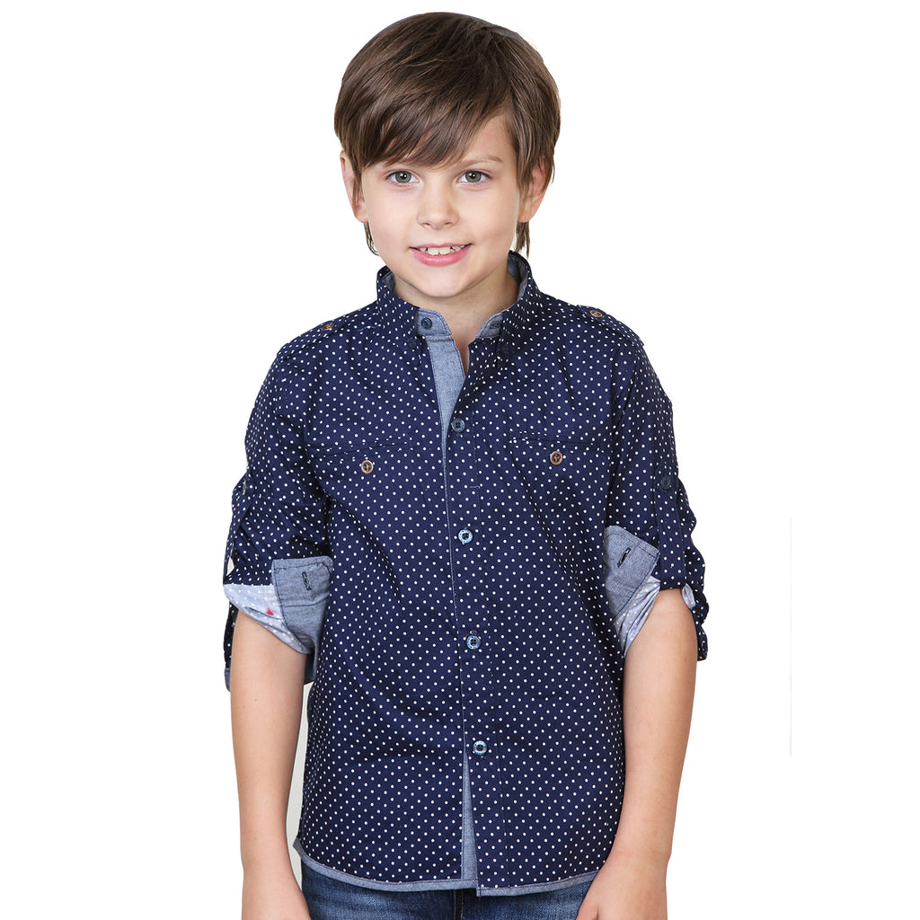 LEO&LILY Boys Long Sleeve Polka Dot Button Down Woven Dressing Shirt LLB243