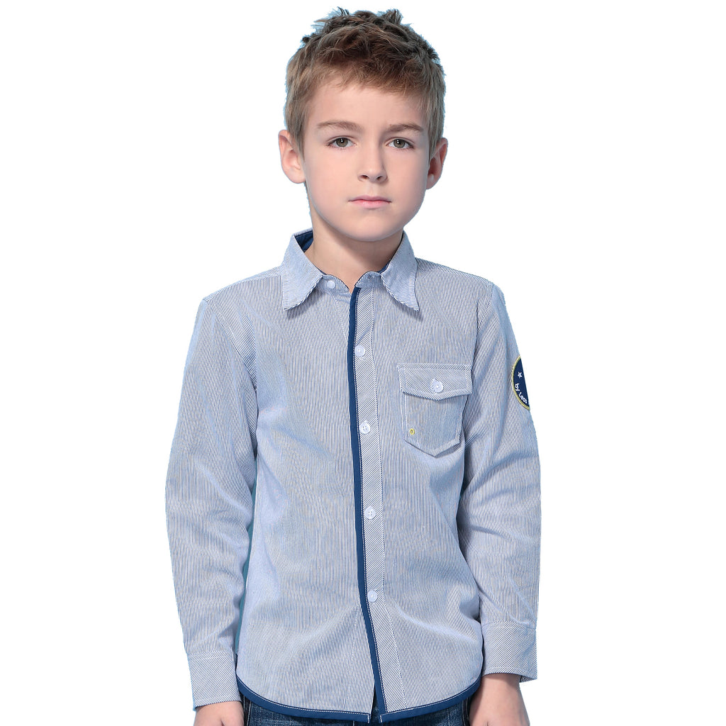 LEO&LILY Big Boys' Yarn Dyed Engineer Dobby Striped Causal Buttons Down Shirts LLB251