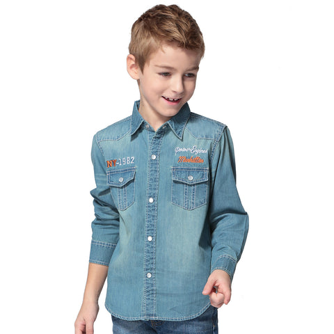 LEO&LILY Big Boys Casual Snaps Down Denim Shirt Front Pockets LLB252