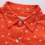 LEO&LILY Big Boys Casual Cotton Corduroy Print Dot Casual Woven Shirts With Tie LLB261