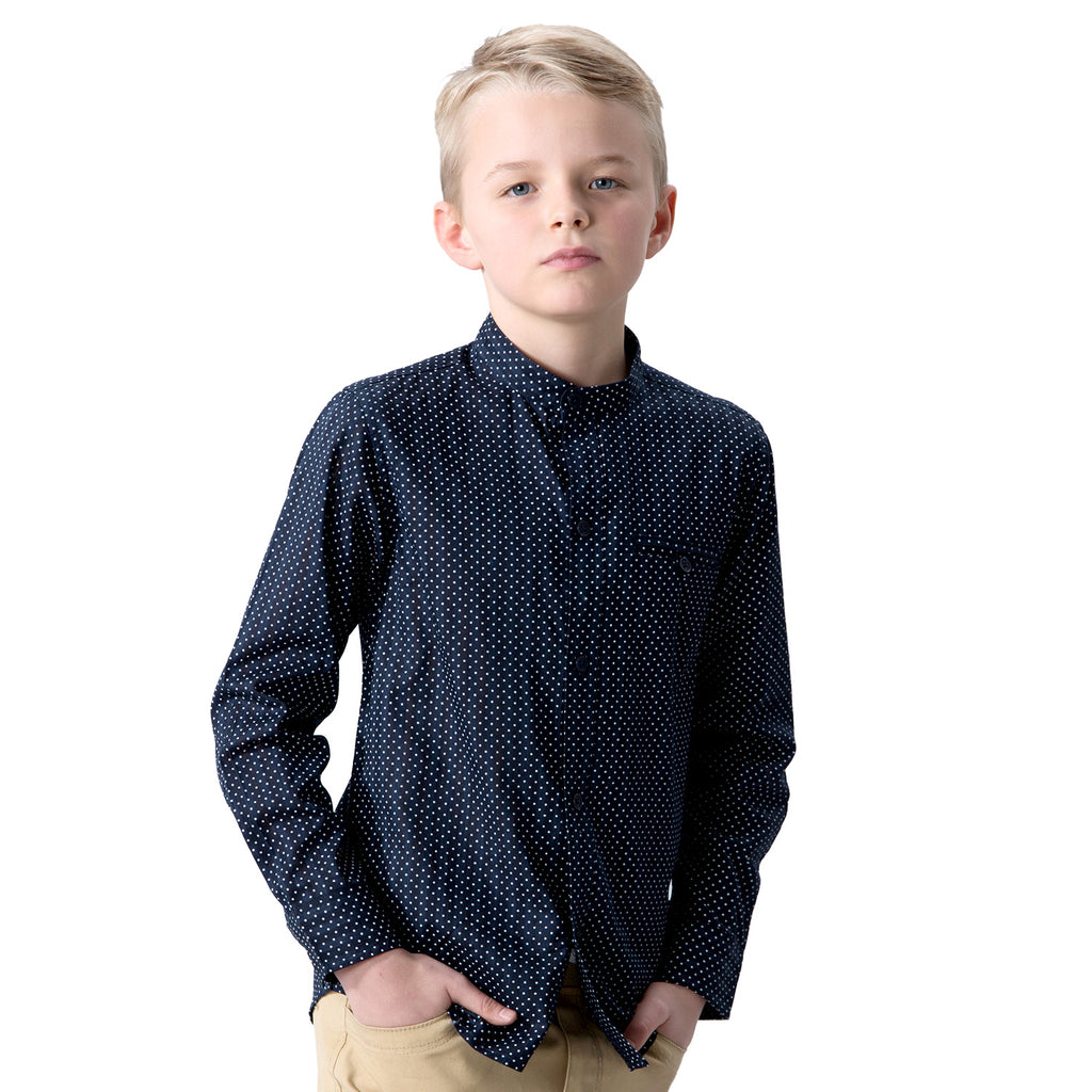 LEO&LILY Boys Dot Print England Classic Woven Button Down Thin Shirts LLB263