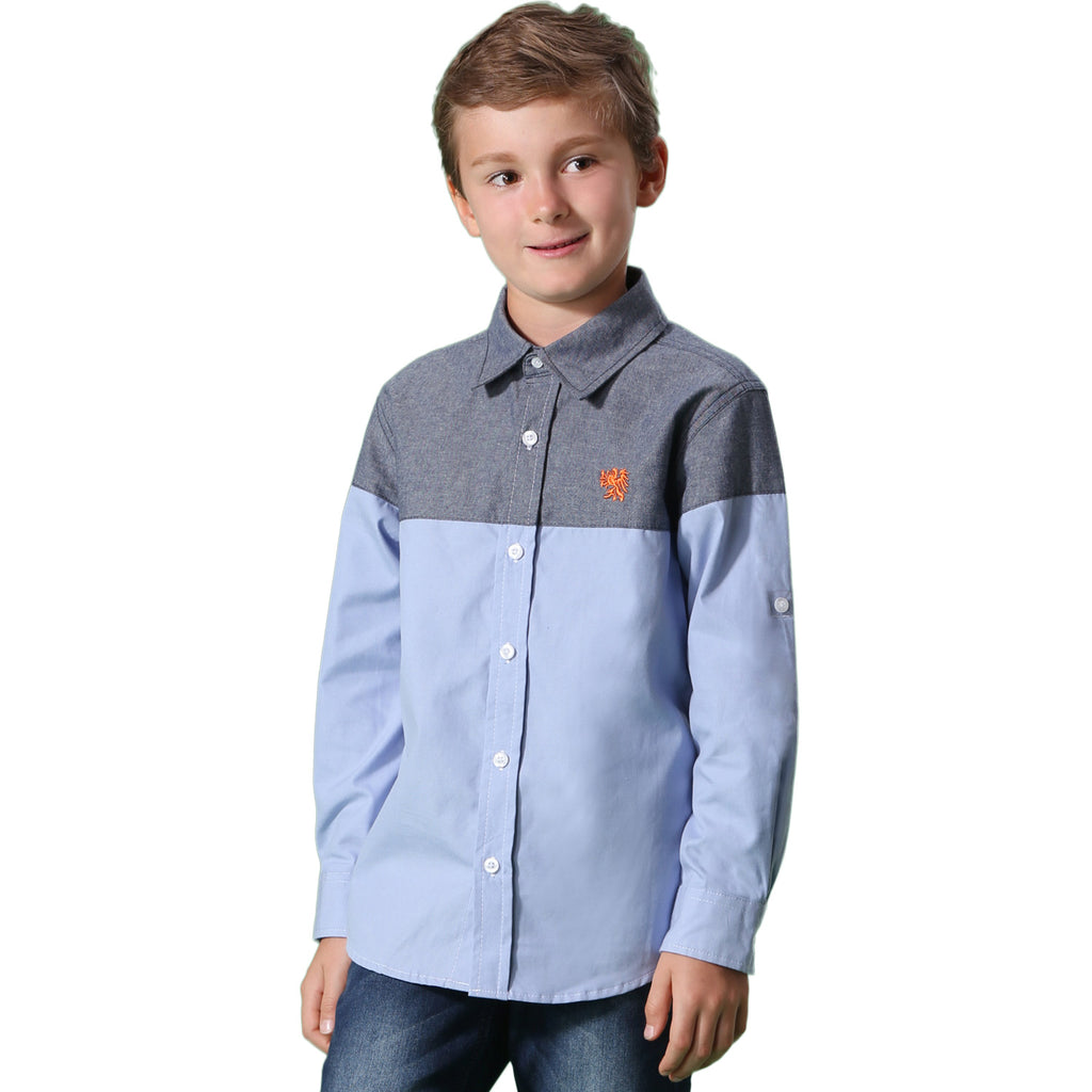 LEO&LILY Boys Long Sleeve Casual England Classic Oxford Button Down Shirts LLB266