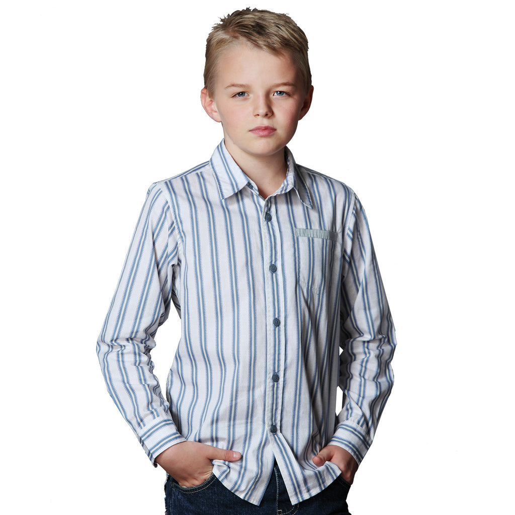 LEO&LILY Big Boys Cotton Poplin Stripes Print Casual Shirts Garment Washed LLB270