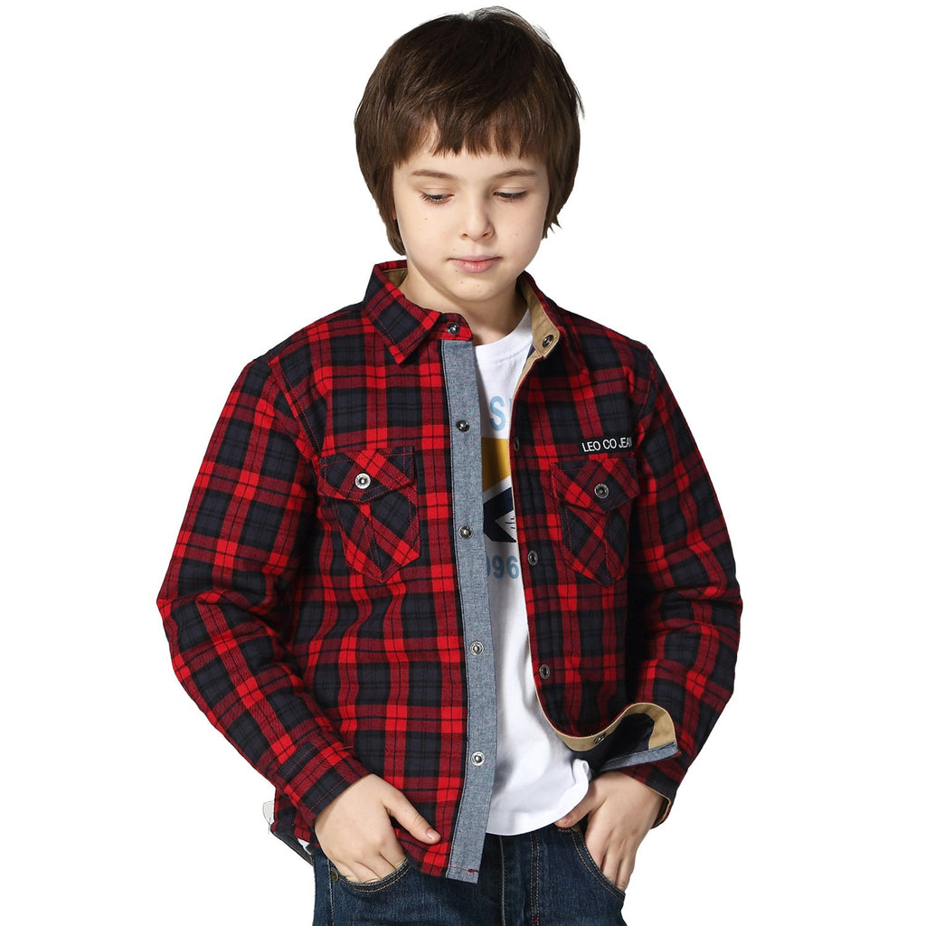 LEO&LILY Boys Casual Yarns Dyed Flannel Quilted Jacket LLB279