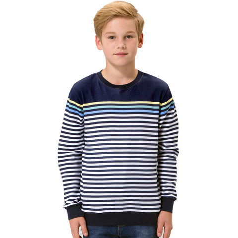 LEO&LILY  Boys Kids Cotton Stripes Crew Sweatshirt T-Shirts LLB3201