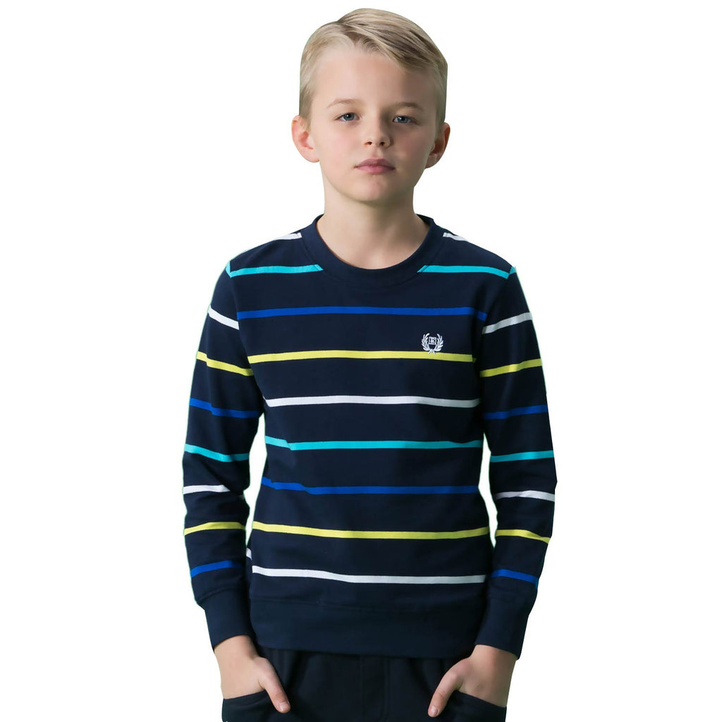 LEO&LILY Big Boys Kids Cotton Stripes Crew Sweatshirt T-Shirts LLB3301