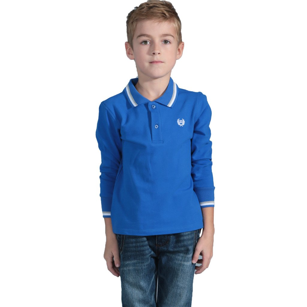 LEO&LILY Boys Long Sleeve Regular Fit Fine Pique Polo Shirts LLB3401