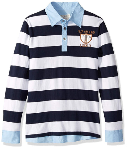 LEO&LILY Big Boys Long Sleeve Casual Stripy Polo Shirts LLB3407