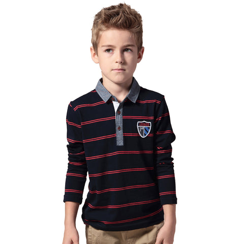LEO&LILY Boys Long Sleeves Striped Cardigan Rugby Polo Shirt LLB3502