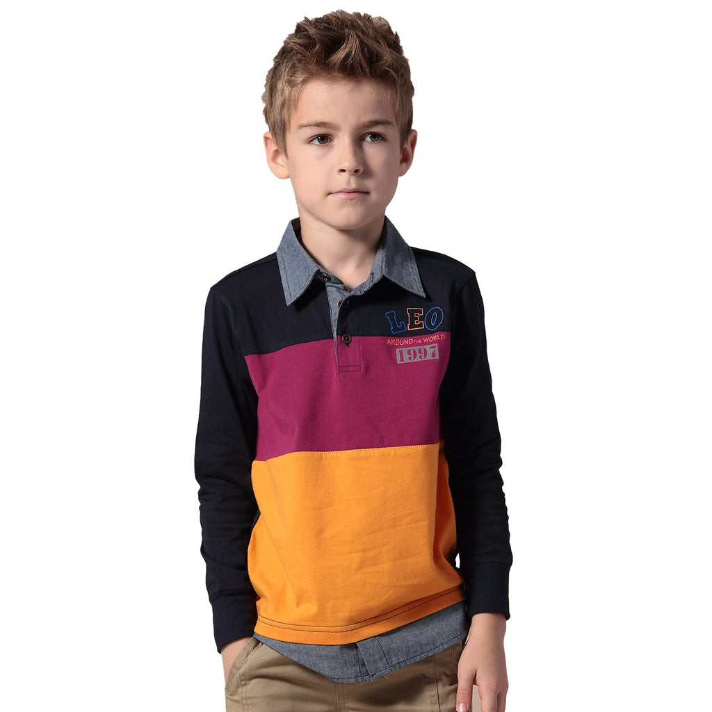 LEO&LILY Boys Long Sleeves Colors Panels Join Polo Shirts T-Shirt LLB3505