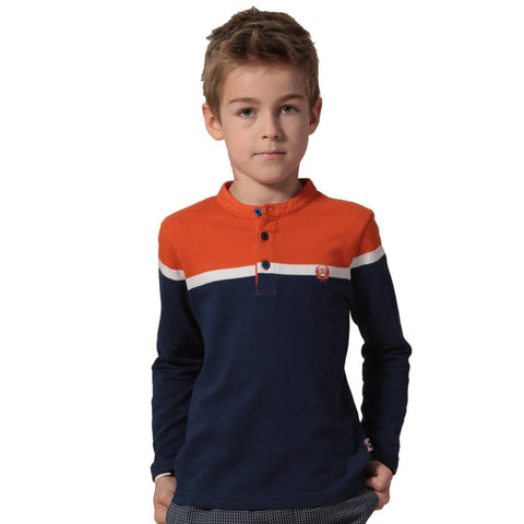 LEO&LILY Boys Kids Long Sleeve Sports Casual Yarn Dyed Pull On Top T Shirt LLB3507