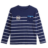 LEO&LILY Big Boys Kids Embroidery Cotton Stripe Jersey T Shirt LLB3522