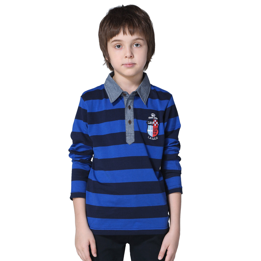 LEO&LILY boys Kids' Yarns Dyed Stripe Jersey Polo Shirts Chambray Collar LLB3523