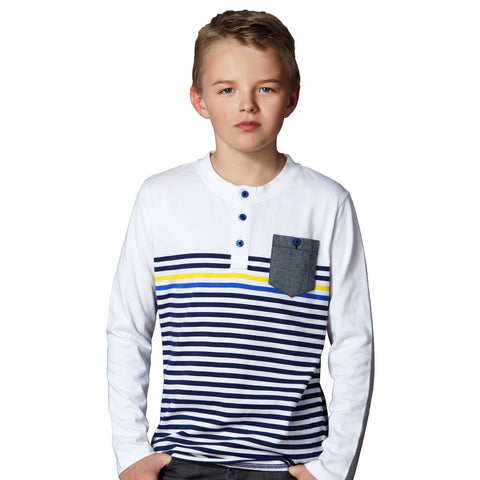 LEO&LILY  Boys Kids Cardigan T Shirts Yarn Dyed Stripe Polo Shirt LLB3524