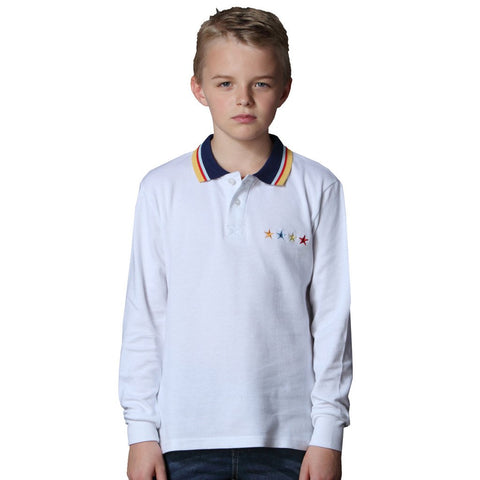 LEO&LILY  Boys Long Sleeve Cotton Casual Lapel Polo Shirt LLB3527