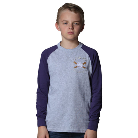 LEO&LLY Boys Long Sleeve Contrast Color Pullover Baseball T-Shirt LLB3532