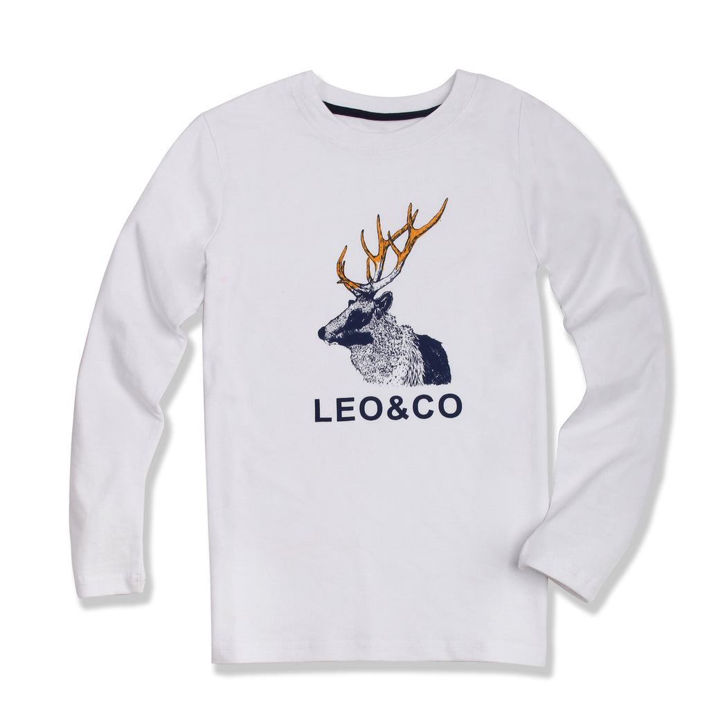 LEO&LILY Big Boys' Long Sleeve Casual Crew Neck T-Shirt Kids Undershirt LLB3539