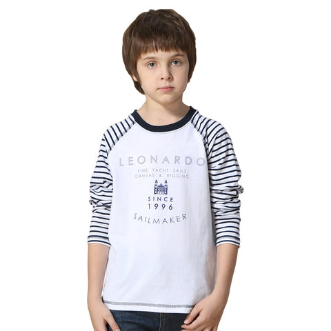 LEO&LILY Boys' Long Sleeve Contrast Color Pullover Print T-Shirt LLB3603