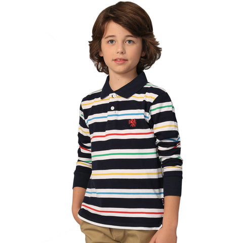 LEO&LILY Boys Long Sleeves Striped Cardigan Rugby Polo Shirt LLB3704