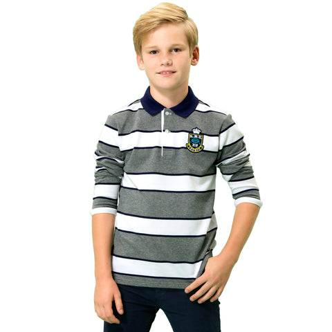 LEO&LILY Big boys Kids Long Sleeves Pique Casual Polo Shirts LLB3709