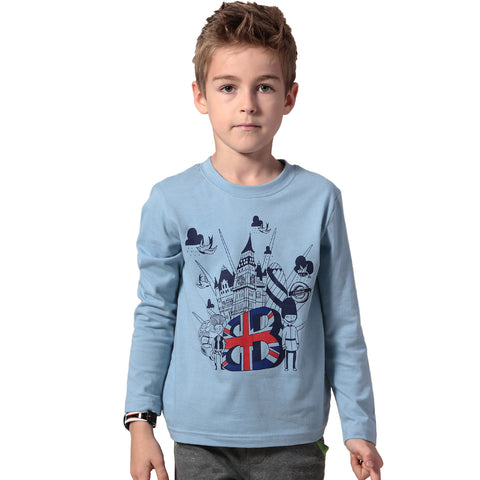 LEO&LILY Boys' Long Sleeve Crew-Neck Pullover T-Shirt LLB3802