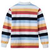 LEO&LILY Boys Long Sleeves Striped Cardigan Rugby Pique Polo Shirt LLB3902