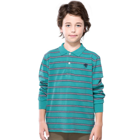 LEO&LILY Boys Long Sleeves Striped Cardigan Rugby Pique Polo Shirt LLB3903