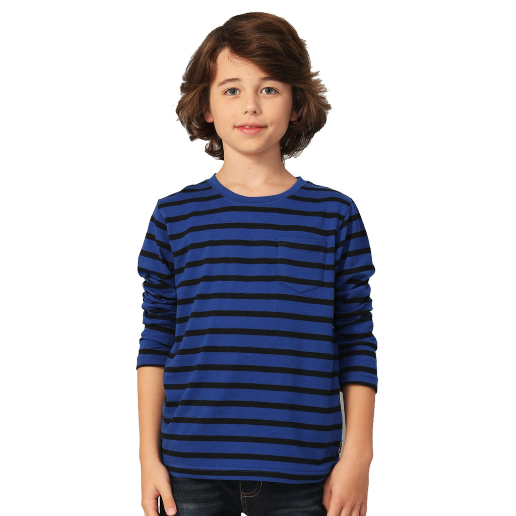 LEO&LILY Boys Long Sleeves Crew-Neck Stripes Pullover T-Shirt LLB3A02