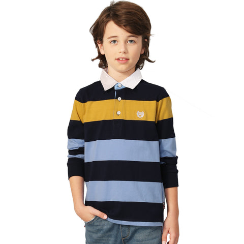LEO&LILY Boys Long Sleeves Striped Cardigan Rugby Polo Shirt LLB3A03