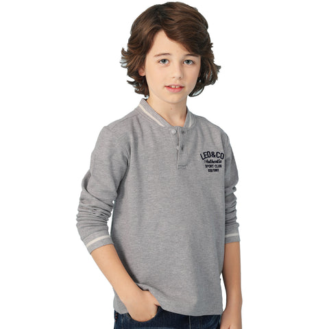 LEO&LILY Big Boys Kids Long Sleeves Fine Pique Cardigan T-Shirt Sweatshirt LLB3A05
