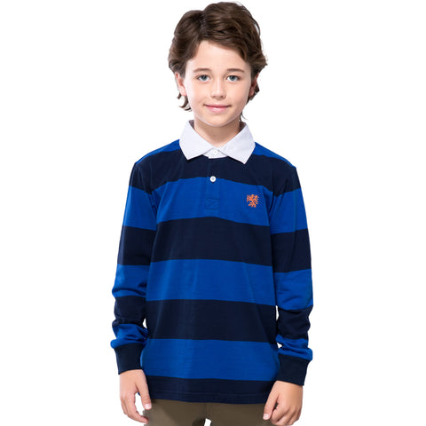 LEO&LILY Boys Long Sleeves Striped Cardigan Rugby Polo Shirt LLB3B02