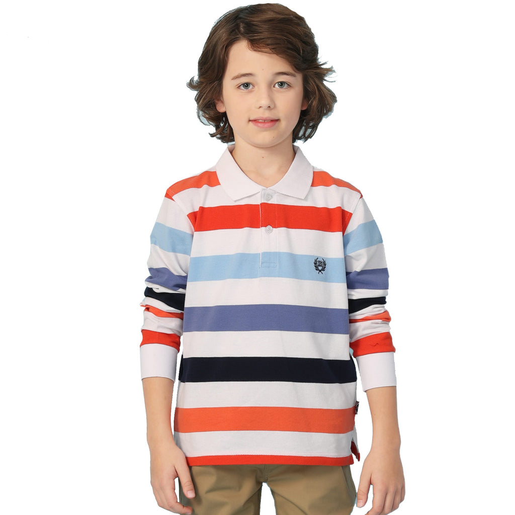 LEO&LILY Boys Long Sleeves Striped Cardigan Rugby Polo Shirt LLB3A13