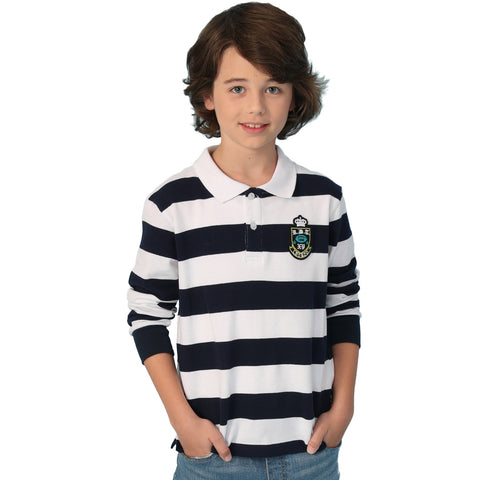 LEO&LILY boys Long Sleeves Striped Cardigan Rugby Polo Shirt LLB3A15
