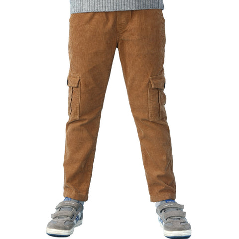 LEO&LILY boys Husky Waist Whole Waist Rib Corduroy Cargo Trousers Pants LLB433