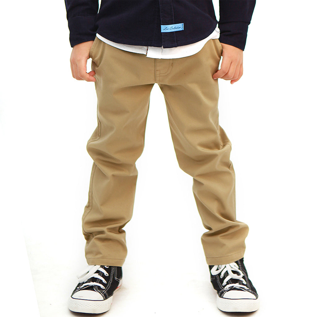 LEO&LILY Boys Kids 100% Cotton Twill Elastic Waist Regular Fit Pants Trousers LLB4A01