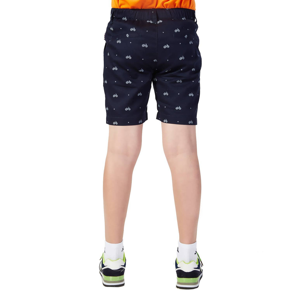 LEO&LILY Boys Elastic Waist Bike Print Casual Chino Shorts LLB576