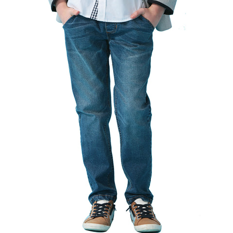 LEO&LILY Boys Kids Husky Rib Waist Stretch Denim Jeans Pants LLB622