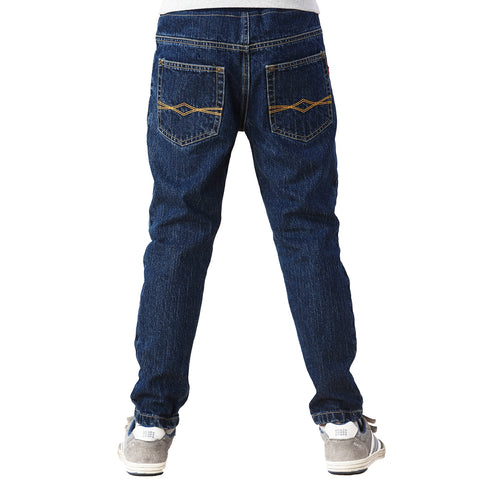 LEO&LILY Big Boys Kids Husky Rib Waist Stretch Denim Navy Jeans Pants LLB636