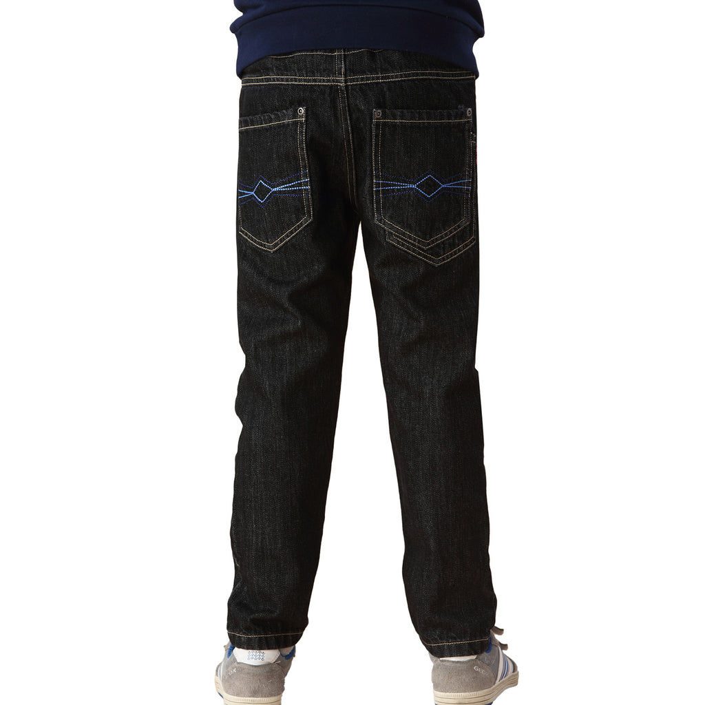 LEO&LILY Big Boys Husky Whole Rib Waist Fine Denim Black Jeans LLB638