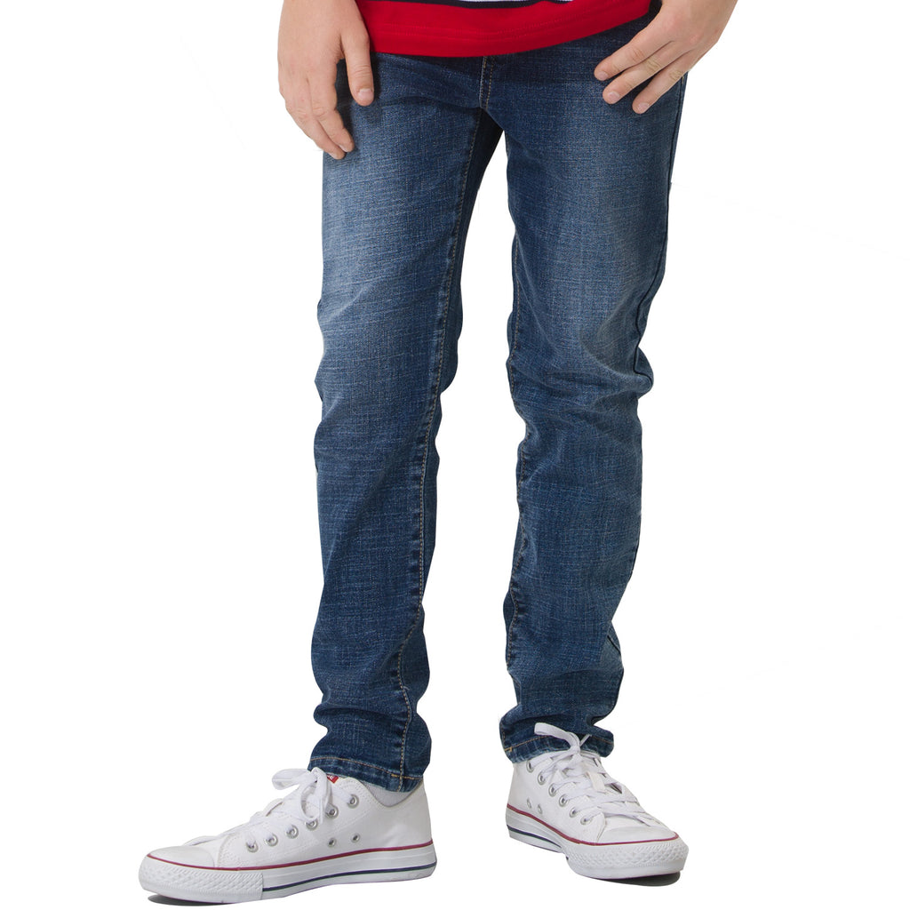 LEO&LILY Boys Kids Elastic Waist Husky Stretch Denim Jeans LLB642