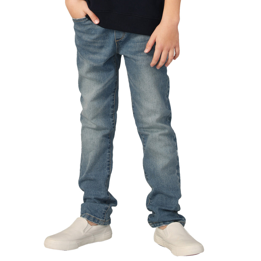LEO&LILY Boys Kids Elastic Waist Husky Stretch Denim Jeans LLB6A01