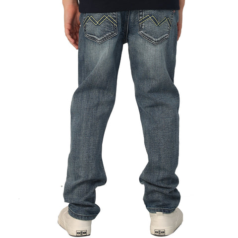 LEO&LILY Boys Kids Elastic Waist Husky Stretch Denim Jeans LLB6A04
