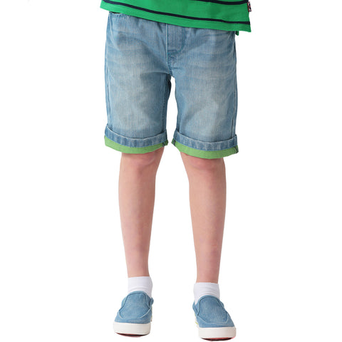 LEO&LILY Boys Elastic Waist Regular Fit Roll Up Print Denim Shorts Jeans LLB781