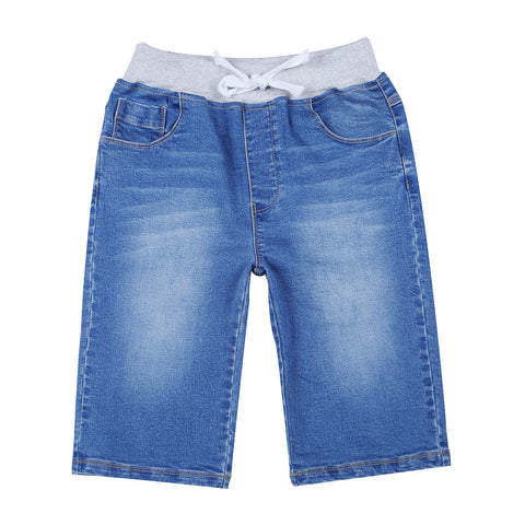 LEO&LILY Boys Kids Rib Waistband Regular Fit Stretch Denim Shorts Jean LLB783