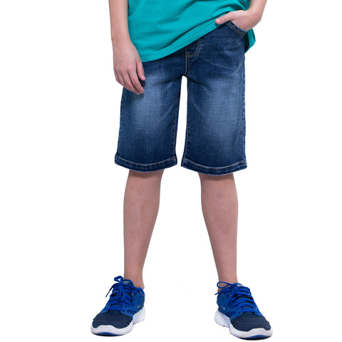 LEO&LILY Boys Kids Elastic Waist Regular Fit Stretch Denim Shorts Husky Jeans LLB787