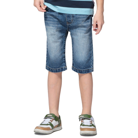 LEO&LILY Boys Kids Elastic Waist Regular Fit Stretch Denim Shorts Jeans LLB7A01
